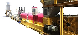 (1)MULTI-VACUUM PET PELLETIZING LINE / (2)MATERIAL NO BREAK EXTRUSION PELLETIZING LINE BY SPAGHETTI CUTTING